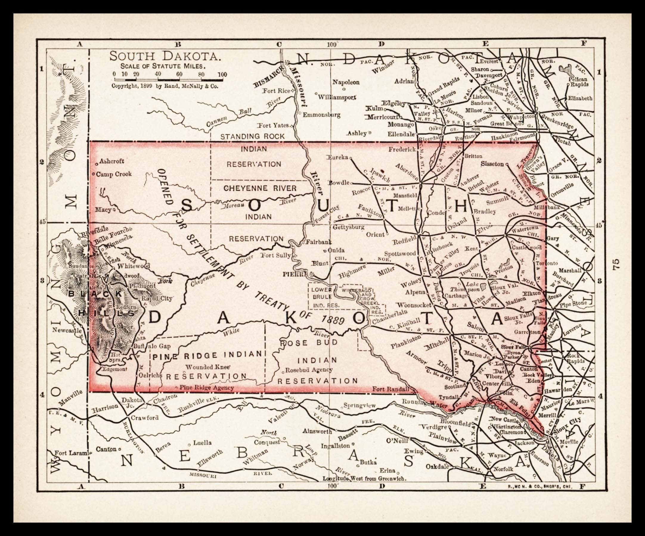 Small Antique South Dakota Map Of South Dakota State Map Etsy