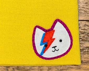 Bowie Cat Hand Sewn Felt Patch on Beanie