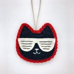 Black Cat in Slitted Shades Wool Felt Hanging Ornament/Decor