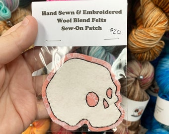 DISCONTINUED : Lace Skull Hand Sewn Wool Felt Sew-on Patch