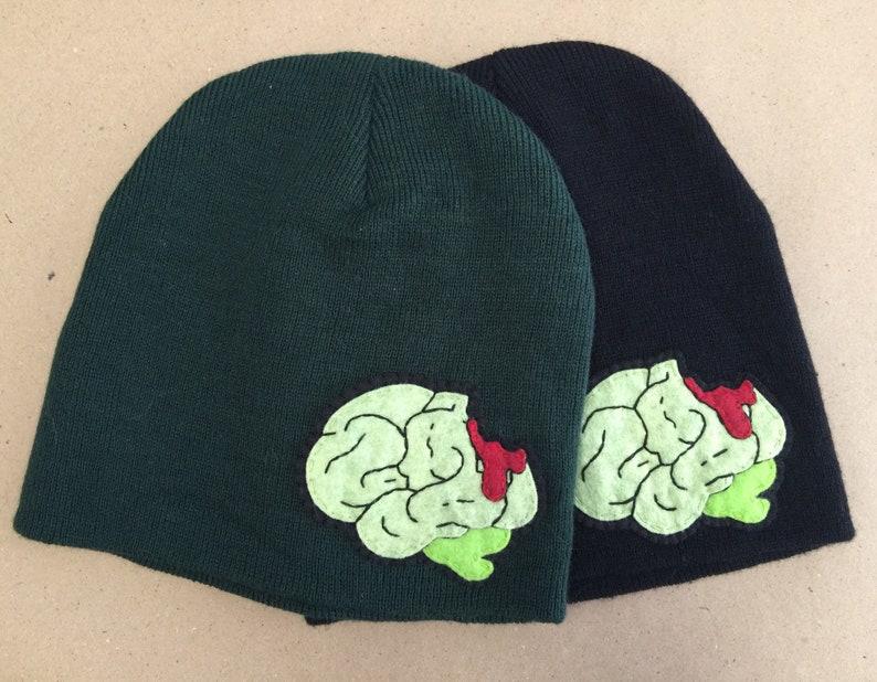 c0c4fe2cc2c Handsewn Wool Blend Felt Embroidery Zombie Brain Patch Beanie