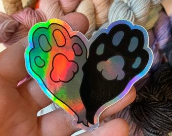 Cat Foot Heart Holographic Vinyl Sticker