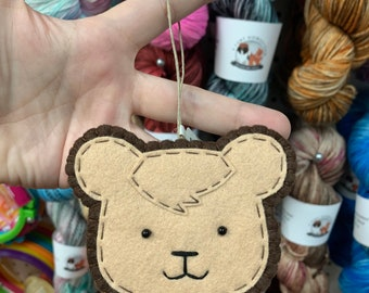 DISCONTINUED : Brown Bear Hand Sewn Wool Felt Ornament