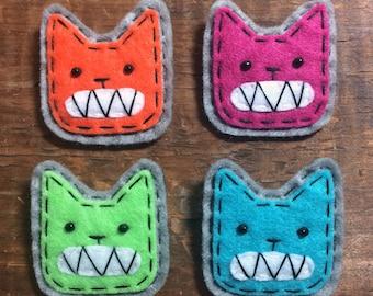 Toothy Tiger Hand Sewn Wool Felt Pin