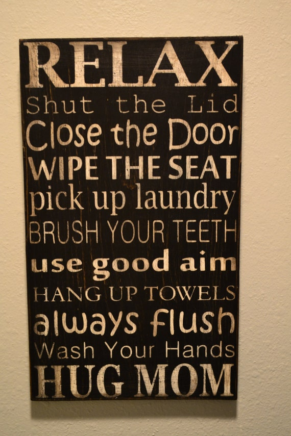Items Similar To Bathroom Rules Subway Art On Etsy