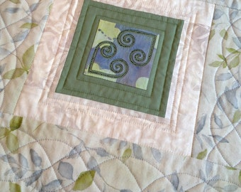 Quilted Table Topper, Embroidered Table Topper, Quilted Hearts Table Topper, Quilted Tablecloth