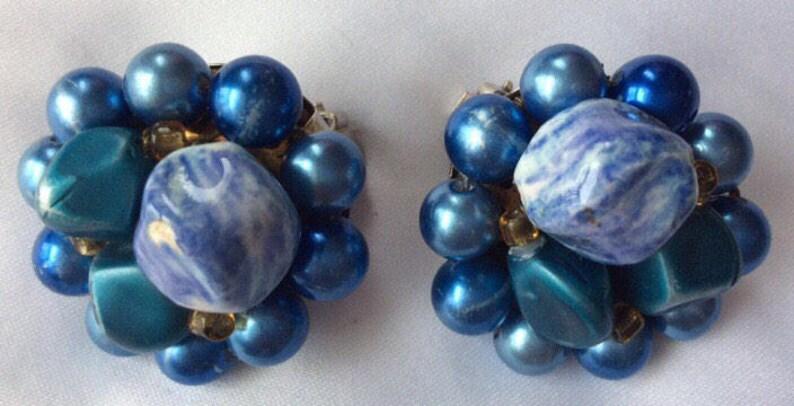 In perfect shape Vintage Something Blue Brida Wedding Birthday gifts JAPAN BEADED VINTAGE Earrings signed Japan Vintage Beautiful Earrings