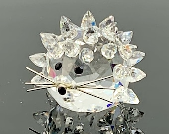 """SWAROVSKI Crystal Porcupine or Hedgehog Figurine with Whiskers Small 1"""" Long / Collectible / Gift Idea / Crystal Figurines"""