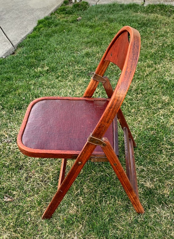 Remarkable Antique Clarin Folding Chair Theatre Chair Antique Clarin Leather And Cherry Wood Folding Chair With Brass Hardware Caraccident5 Cool Chair Designs And Ideas Caraccident5Info