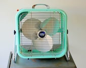 Black Friday Sale 1950's Aqua Country Aire Metal Box Fan with 2 Speeds and Tilting Feature