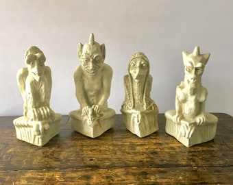 Set of 4 Vintage Gargoyles Studio Brooklyn New York Gargoyle Collection