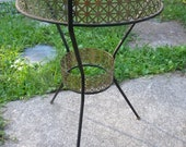 cool vintage 1950s mid CENTURY MESH and iron and GLASS top table