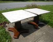 pick up only 2 nice shape vintage MARBLE top PEDESTAL TABLE stand pick up only