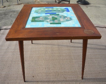 Fantastic 1950s 1960s Vintage Walnut California Danish Modern Gambone  Marshall Martz Harris Strong Era TILE TOP FISH Table