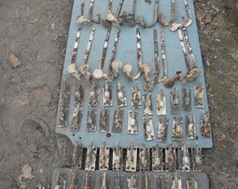 78 pieces of vintage antique IRON SHUTTER HARDWARE hinges dogs