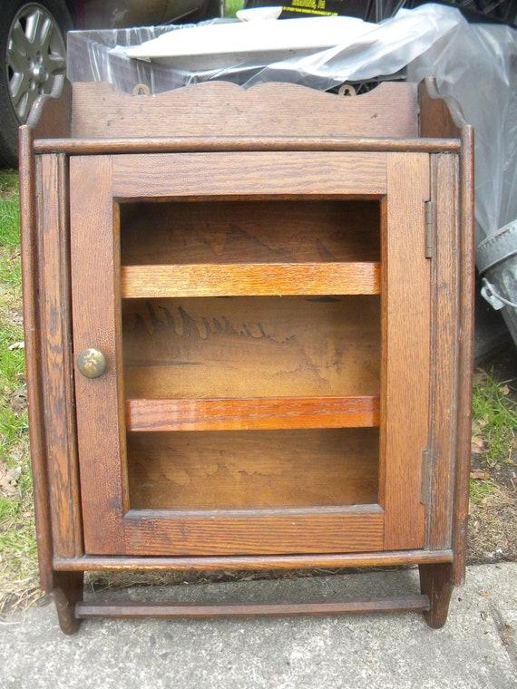 Like this item? - Vintage Antique 1910 Or So WALL Mount Oak MEDICINE CABINET