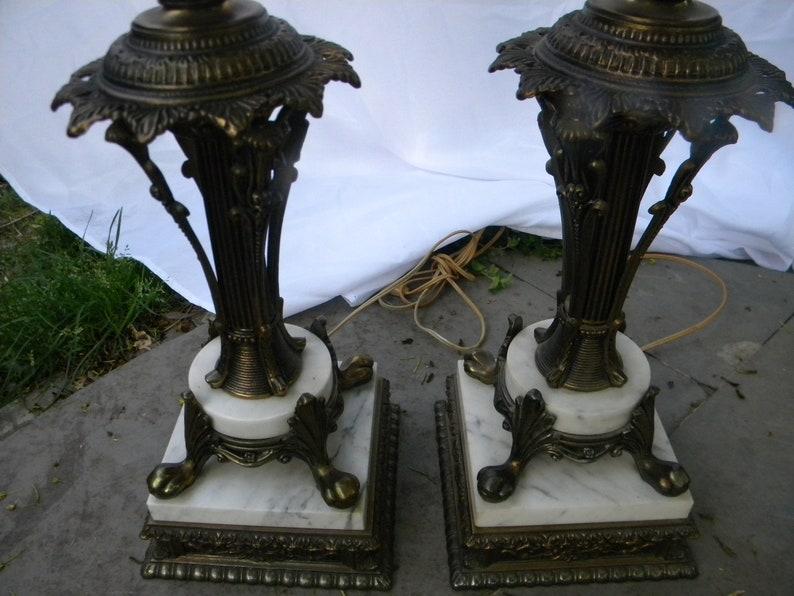nice shape pair vintage tall  ornate mid century HOLLYWOOD REGENCY marble base table lamps