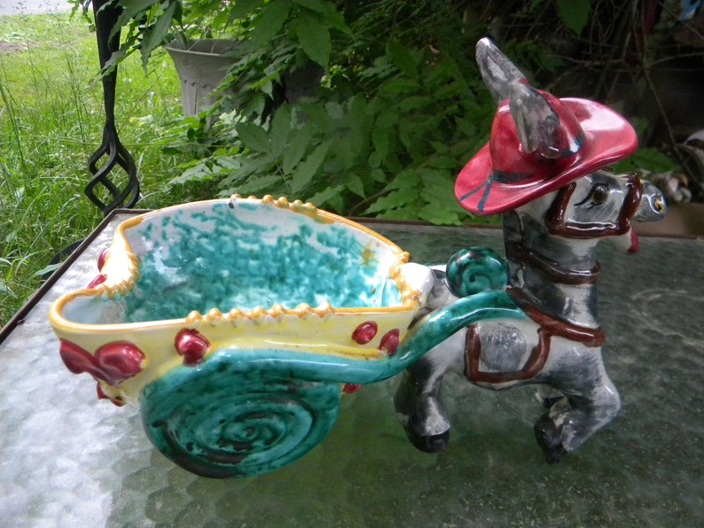 great shape clean vintage 1950s ITALY italian POTTERY DONKEY and cart