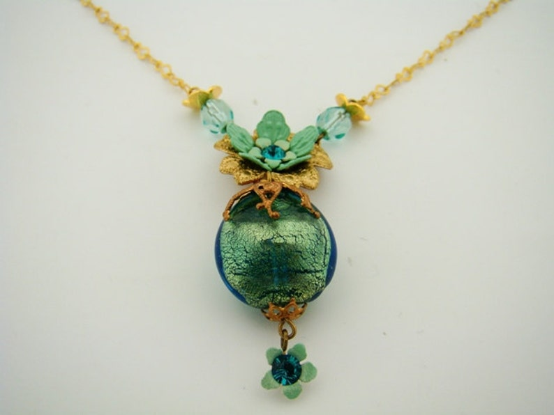 turquoise green boho chic romantic jewelry colorful beaded bohemian Orly Zeelon Ode to a Grecian Urn Pendant Necklace