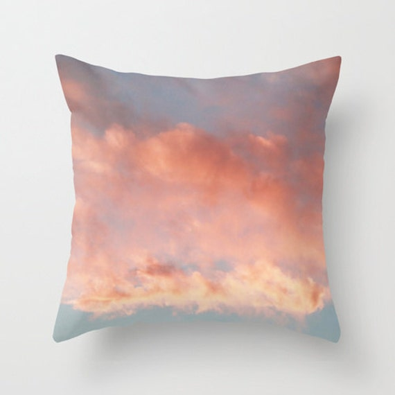 Cloud Pillow Pink Clouds Pillow Pink And Blue Throw Pillow Etsy