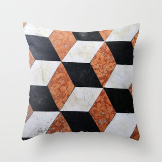 Black marble throw pillow | Etsy