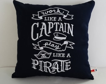 Sunbrella WORK LIKE CAPTAIN play like a pirate pillow cover indoor outdoor boating nautical beach coastal decor oba canvas co.