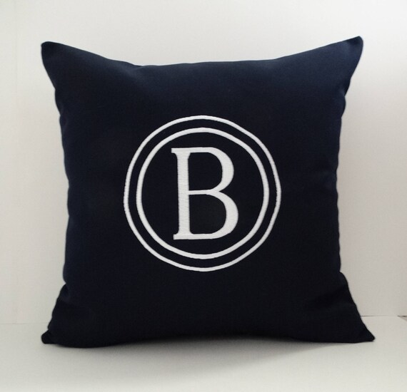 MONOGRAMMED INITIAL PILLOW Cover Sunbrella Indoor Outdoor Etsy Stunning Initial Pillow Covers