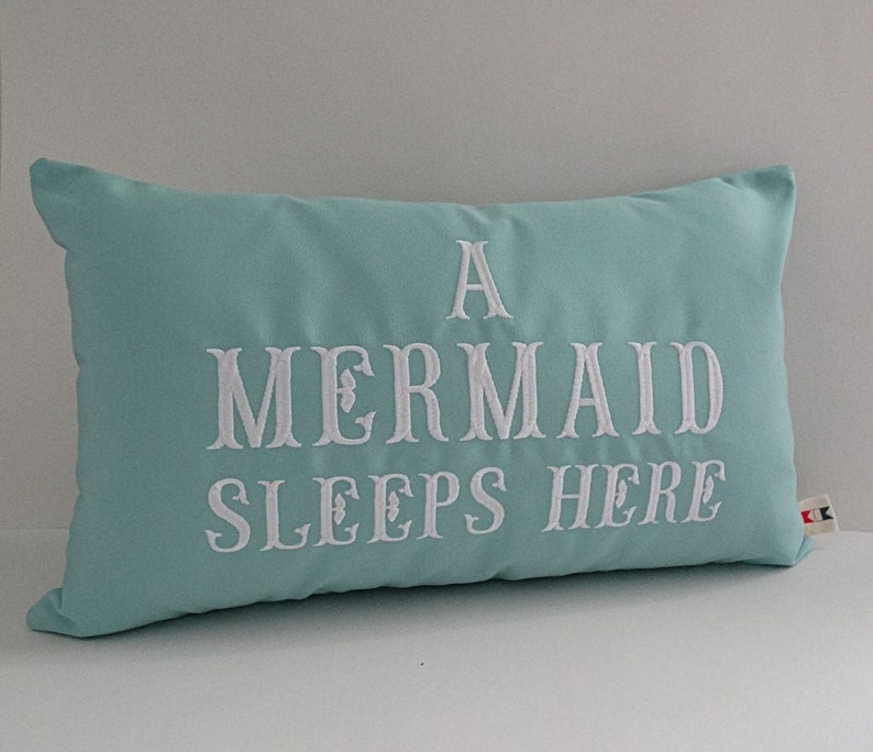 Embroidered Pillow Cover A Mermaid Sleeps Here Pillow Mermaid Decor Mermaid Sham Mermaid Pillow Cover