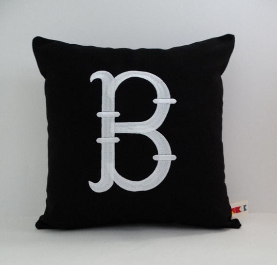 Embroidered Letter Pillow Cover Monogrammed Pillow Etsy