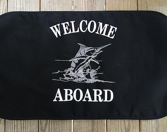 Sunbrella Welcome Aboard Boat Mat, Canvas Welcome Mat, Non Skid Canvas Boat Mat, Boat Mat, Sunbrella Canvas Welcome Aboard Dock Mat