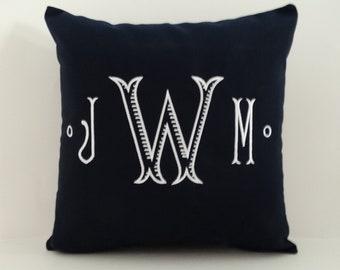 Pillow Cover | MONOGRAM PILLOW | Sunbrella Indoor Outdoor Pillow | Initials Pillow | Embroidered Pillow | Letter Pillow | Monogrammed Sham