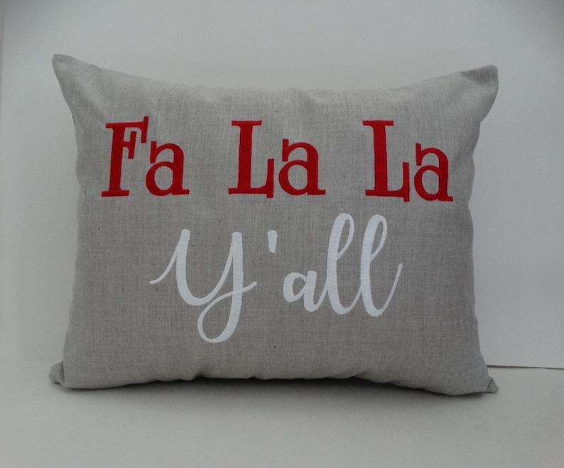 Pillow Cover  Fa La La Y'all Pillow  Christmas Pillow  image 0
