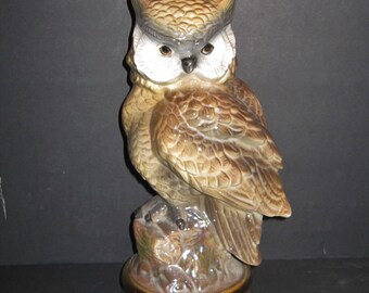 Tall Horned Owl Ceramic Figurine 13 inches Tall
