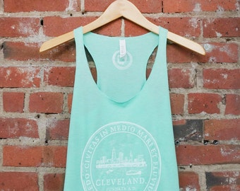 Racerback SUPER SOFT Vintage Feel Tank - Cleveland 'City Seal' on TriBlend Mint Green