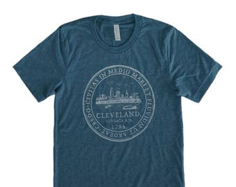 Unisex Denim Blue Tri-Blend Supersoft Tee with Cleveland 'City Seal' in White Ink