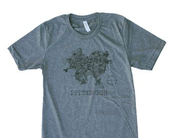 Unisex Grey Tri-Blend Supersoft Tee with Hand Drawn 1940 Pittsburgh Map in Black Ink