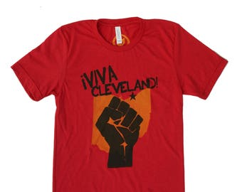 Unisex Solid Red Tri-Blend Supersoft Tee - 'Viva Cleveland!'