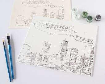 Akron Paint-By-Number Kit (Downtown with Blimp)
