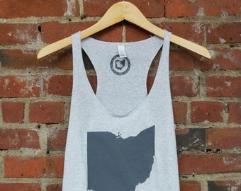 Racerback SUPER SOFT Vintage Feel Tank - 'Ohio State', Grey on White Fleck