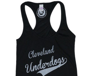 Racerback SUPER SOFT Vintage Feel Tank - Cleveland Underdogs in White on Black