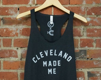 Racerback SUPER SOFT Vintage Feel Tank - 'Cleveland Made Me' on TriBlend Solid Dark Grey