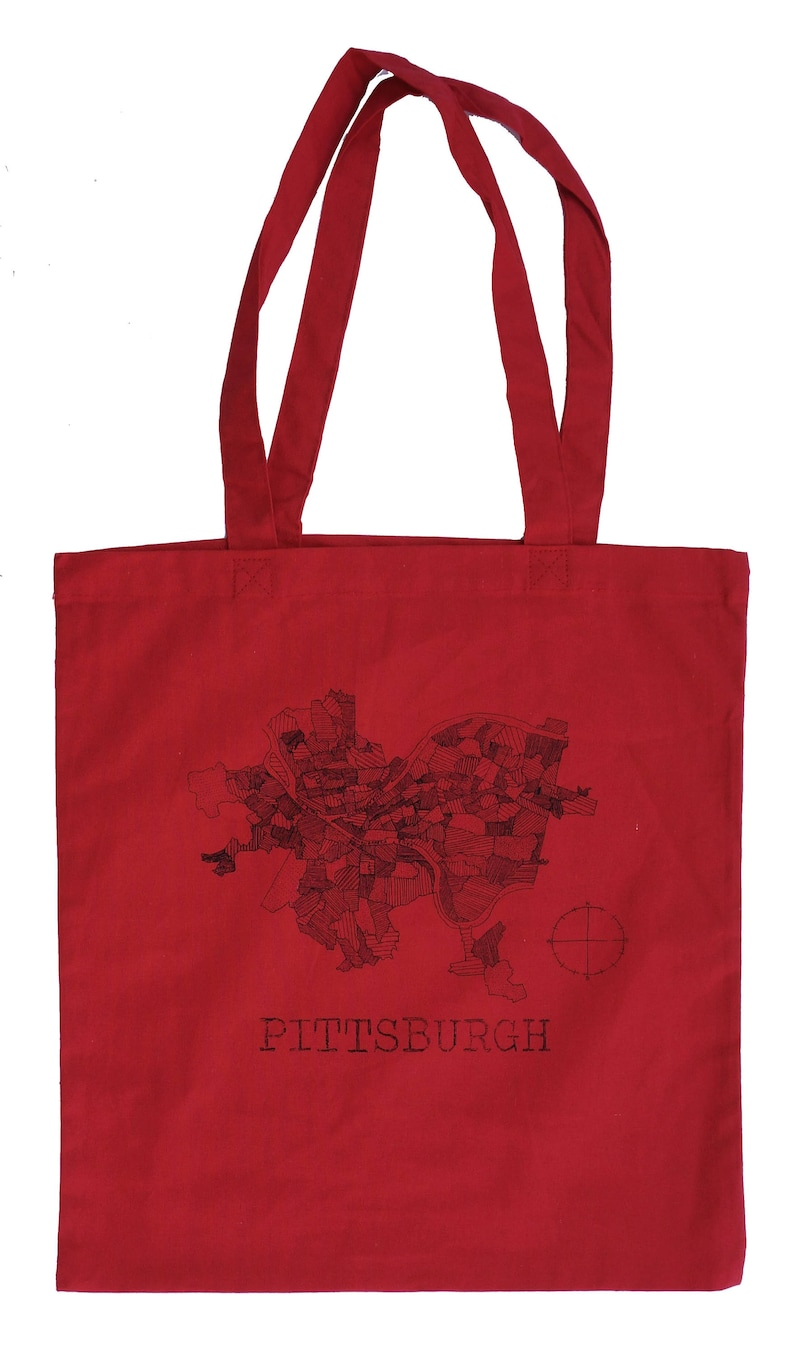 Pittsburgh 1940 Map Red Cotton Tote