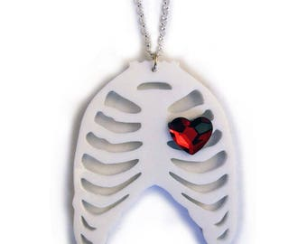 Skeleton Ribcage Necklace with Swarovski Crystal Heart - CLEARANCE 50% OFF