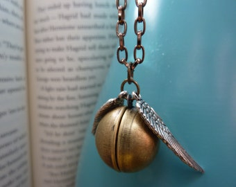 Golden Winged Ball Locket Necklace - CLEARANCE 50% OFF