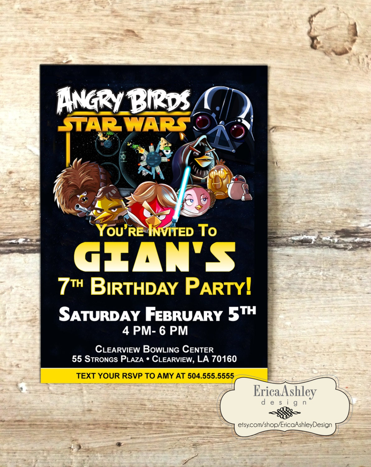 Angry Birds Star Wars Invite 5 X 7 Professionally Printed