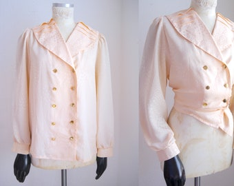 8fe804ca 80s peach satin blouse, women's vintage shawl collar blouse, double  breasted gold button blouse