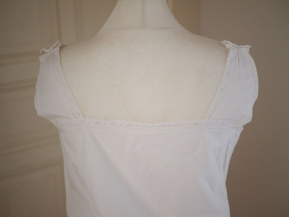 Antique cotton DRESS, White cotton shift  lace dr… - image 10