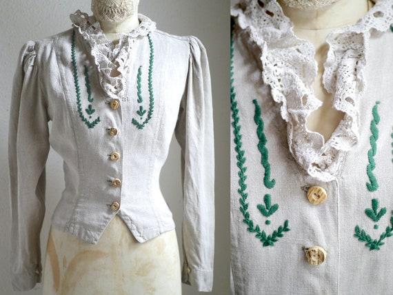 Austrian puff sleeve blouse / Linen folk Trachten