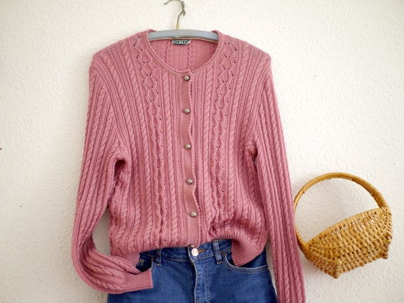 Vintage knit cardigan dusty rose / Austrian folk s