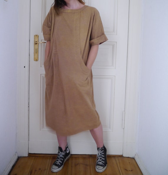 day Dress dress Vintage sleeve earth boatneck baggy boxy pockets tan dress dress short fashion color minimal relaxed Natural BBr56Oaq